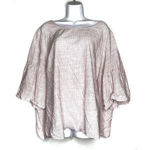 Como Black Striped Bell Sleeved Top Plus Size 3X